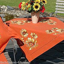Tischdecke HANDARBEIT Mitteldecke Orange HANDARBEIT Sonnenblume gelb 90x90