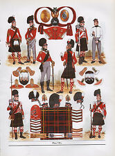 Vintage militar británico uniforme impresión 1810-1815 79 Regimiento De Pie Highlanders