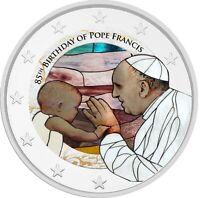 2 Euro Gedenkmünze mit Papst Franziskus coloriert / Farbe / Farbmünze Vatikan