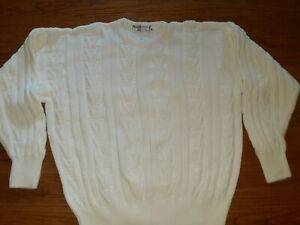 Mens Burberrys Sweater Size 38 White Cotton Cable Made In England