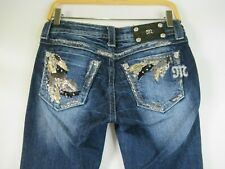 F2183  Women's MISS ME Sequin Angel Wings Boot Cut Denim Jeans Size 26
