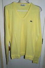 Vtg Izod Lacoste Men's Bright Yellow Orlon Acrylic V-Neck Sweater Size Large