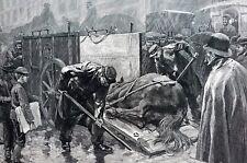 Sick Horse NYC 1888 AMBULANCE VET VETERINARIAN HORSE DOCTOR Animal Cruelty Print