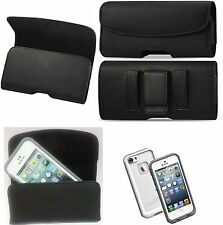 XL LEATHER POUCH BELT CLIP HOLSTER For LG Fortune FITS A LIFEPROOF CASE ON PHONE
