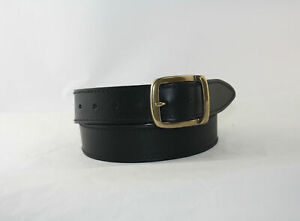 BLACK Genuine HIDE LEATHER Belt with a Solid ANTIQUE BRASS Buckle - 35mm wide