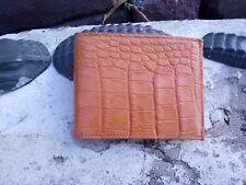Wild Alligator Mens  Bi fold Wallet croc gator swamp leather hide Cognac F3