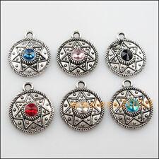 6 New Tibetan Silver Charms Mixed Crystal Flower Star Pendants 22x26.5mm