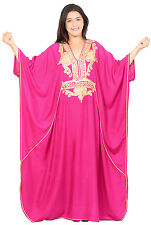 Plus size caftan Women Kaftan Caftans Muslim Long Dress Casual Abaya Magenta