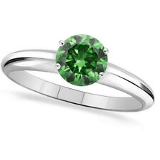 0.75 Ct Round Green SI2-I1 Solitaire Diamond Wedding Engagement Rings
