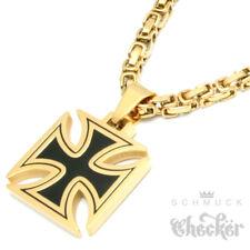 Edelstahl Anhänger Eisernes Kreuz schwarz gold + 60cm Königskette Bikerschmuck
