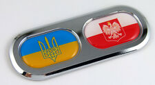 Ukraine / Poland Double Country Flag Car Chrome Emblem Decal Sticker Badge DC