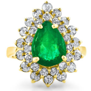 Certified 2.95cttw Emerald 0.80cttw Diamond 14KT Yellow Gold Ring