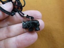 (an-ele-26) Elephant Black Onyx simple carving Pendant necklace gemstone Fetish