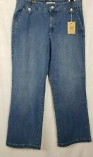 Jeanstar Women's Jeans Size 14 Stretch Trouser Front Wide Leg Maui Wash NWT