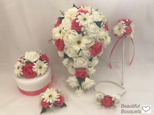 Wedding bouquet  Flowers Ivory coral Bride, Bridesmaid, Flower Girl wand gerbera