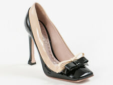 New Miu Miu by  Prada Black & Beige Patent Leather Pumps Size 35.5 US 5.5