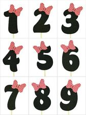 "RED Polka Dot Bow Design Birthday BLACK Glitter NUMBER Cake Topper 5.5"" Tall"