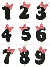 """RED Polka Dot Bow Design Birthday BLACK Glitter NUMBER Cake Topper 5.5"""" Tall"""