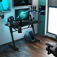 """25-33""""  Office Racing Gaming Table W/Cup Holder LED Light Height Adjustable Desk"""