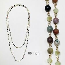 """60"""" Long Green Stone and Crystal Beaded Wrap Around Necklace 8mm"""