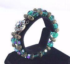 Vintage Bergere Blue Aurora Borealis Glass Bead Bracelet