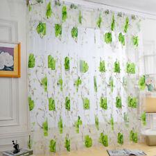 Floral Vines Leaves Tulle Door Window Curtain Drape Panel Sheer Scarf Valances