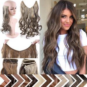 Unsichtbar Stirnband Haarteil Hair Extensions Haarverlängerung Draht Haarstücke