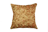 LUXURY 3D ROSE FLOWER SPIRAL EFFECT CUSHION COVER 43x43cm BROWN RED GOLD TEAL