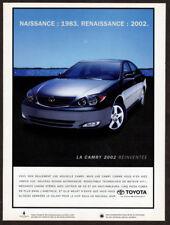 2002 TOYOTA Camry Sedan Vintage Original Print AD - Gray car photo Canada French