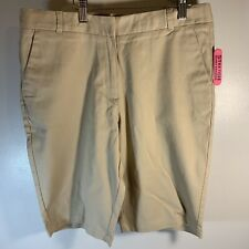 Izod Girls Khaki School Shorts High Rise Bermuda Stretch Size 16