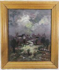 Betzler Karl Heinrich 1929 Gemälde Häuser Bachlauf bei Mondschein Nacht 1970/79