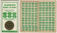 Warsaw Green Savings Stamps Booklet with 2 Full Pages of Stamps
