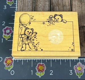 Hero Arts Confetti Bears Tag Rubber Stamp 1989 G661 Frame Square Name #F144