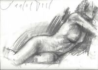 FEMALE NUDE Reclining figure 9x12 Expressive Life Charcoal Drawing Naked Woman