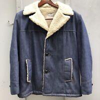 Vintage Raritan Sportswear Denim Coat Jacket Men's Size 44 Sherpa Lined