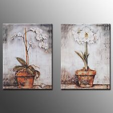FRAMED Canvas  Prints Painting Wall Art White Flower PictureFor Home Decor -2pcs
