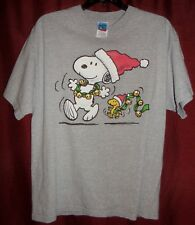 Peanuts Snoopy and Woodstock Christmas Jingle Bells Gray Cotton T-Shirt size  LG