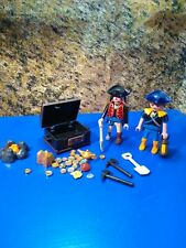PLAYMOBIL LOT OF 2 PIRATES WITH TREASURE CHEST