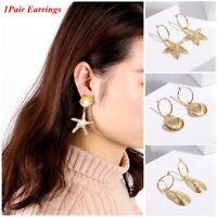 Summer Party Metal Starfish Stud Shell Pearl Earrings Dangle Drop Beach Jewelry