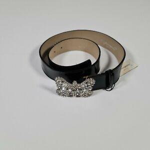 Gianni Franco Women's Black Genuine Leather Butterfly Embellished Belt S /L