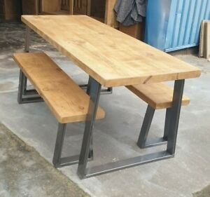 SOLID WOOD RUSTIC CHUNKY TABLE & BENCH SET  WITH INDUSTRIAL METAL LEGS