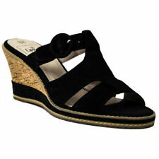 Caprice 27204 Black Suede Ladies Wedge Sandals UK Size 4.5 (EU Size 37.5)