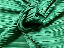 Green Plisse Satin Jersey Pleated Dress Fabric, Per Metre