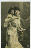 c 1907 Child Children MOTHER PIGGY BACK RIDE w/ Daughter tinted photo postcard