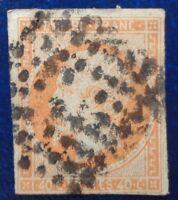 France oblitéré, n°16, 40c orange Napoléon III, empire franc, non dentelé, 1853