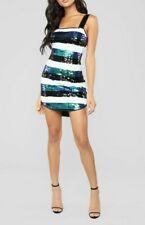 9b3d2efe712a $49.99 Fashion Nova Sequin Cocktail Club Dress White Green Black Stripe  Medium M
