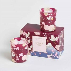 AVON SAKURA NOIR VOTIVE SET ~ SCENTED GLASS CANDLES IN GIFT BOX ~ * BRAND NEW *