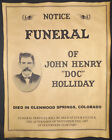 Doc Holliday Funeral Announcement Poster, old west, western, wanted