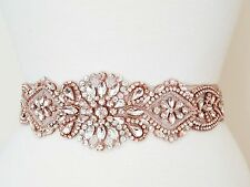 "Wedding Sash Belt - ROSE GOLD CLEAR CRYSTAL PEARL Belt = 17"" long"