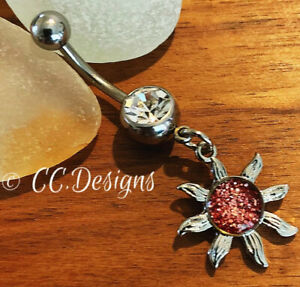 14g White Sparkle Cz Dangle Pink Resin Glitter Sun Belly Button Ring (#131)